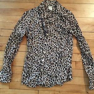 JCrew leopard button down shirt